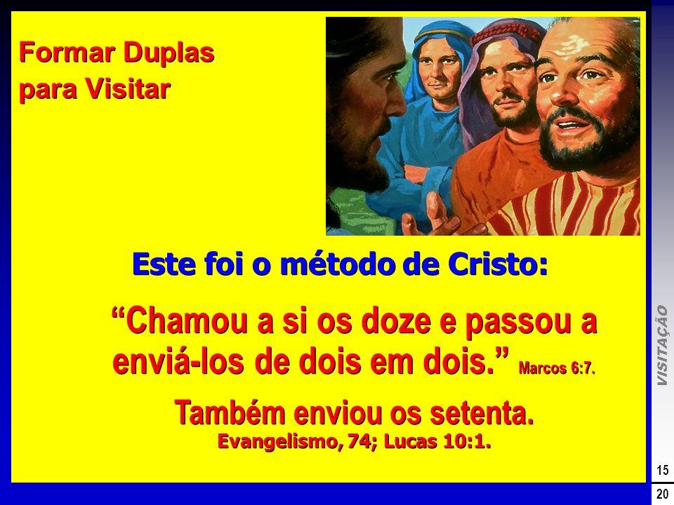 VISITAÇÃO 15 20 Formar Duplas para Visitar Este foi o método de Cristo: Chamou a si os doze e passou a enviá-los de dois em dois. Marcos 6:7. Também e