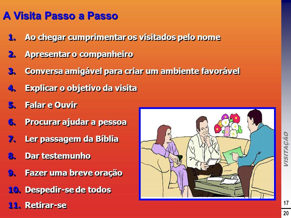 VISITAÇÃO 17 20 A Visita Passo a Passo 1.Ao chegar cumprimentar os visitados pelo nome 2.Apresentar o companheiro 3.Conversa amigável para criar um am