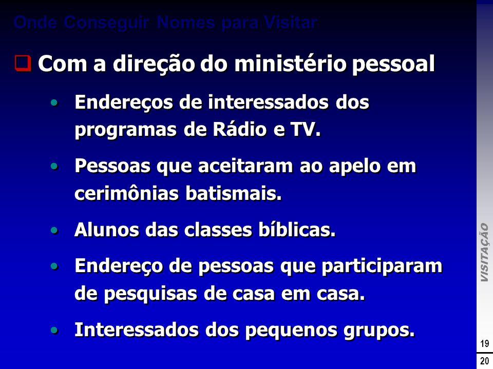 VISITAÇÃO 19 20 Onde Conseguir Nomes para Visitar Com a direção do ministério pessoal Endereços de interessados dos programas de Rádio e TV. Pessoas q
