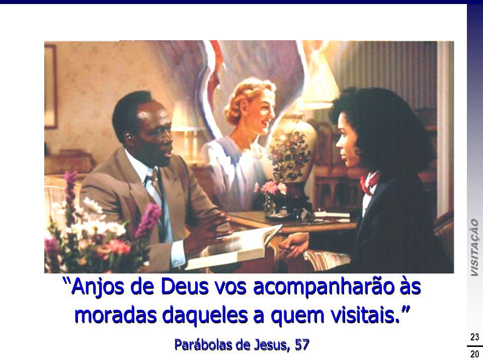 VISITAÇÃO 23 20 A Promessa de Deus Anjos de Deus vos acompanharão às moradas daqueles a quem visitais. Parábolas de Jesus, 57 Anjos de Deus vos acompa