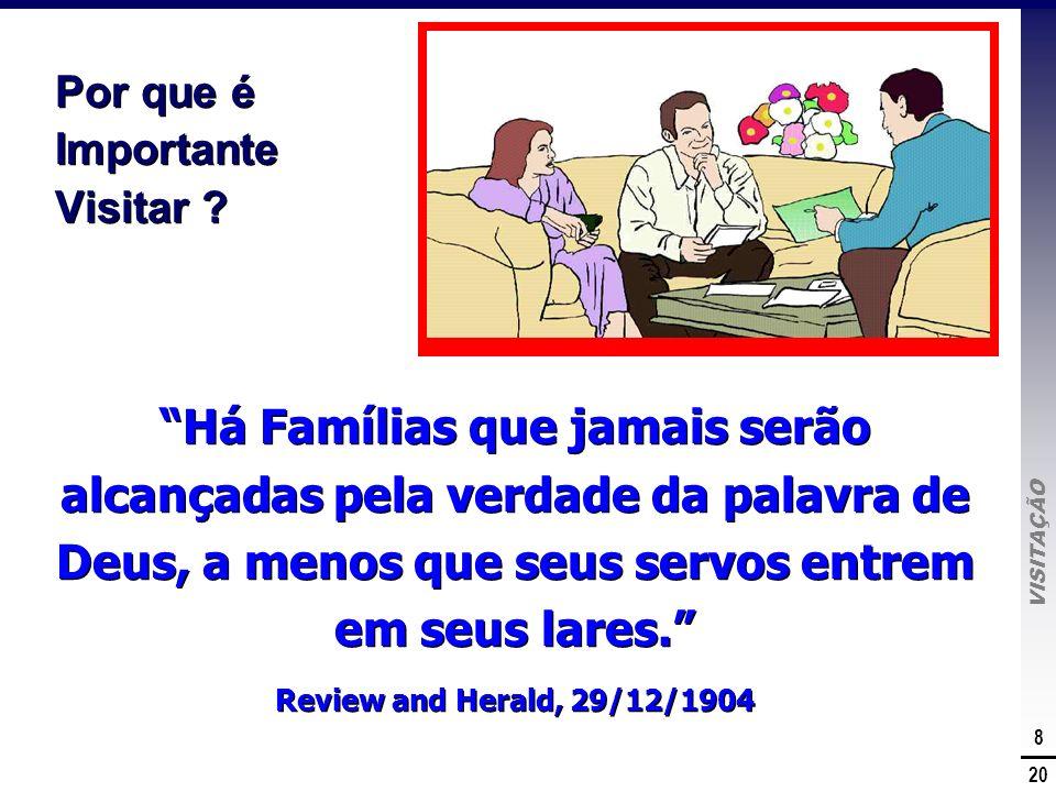 VISITAÇÃO 8 20 Por que é Importante Visitar ? Há Famílias que jamais serão alcançadas pela verdade da palavra de Deus, a menos que seus servos entrem