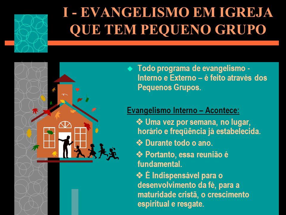 Todo programa de evangelismo - Interno e Externo – é feito através dos Pequenos Grupos.