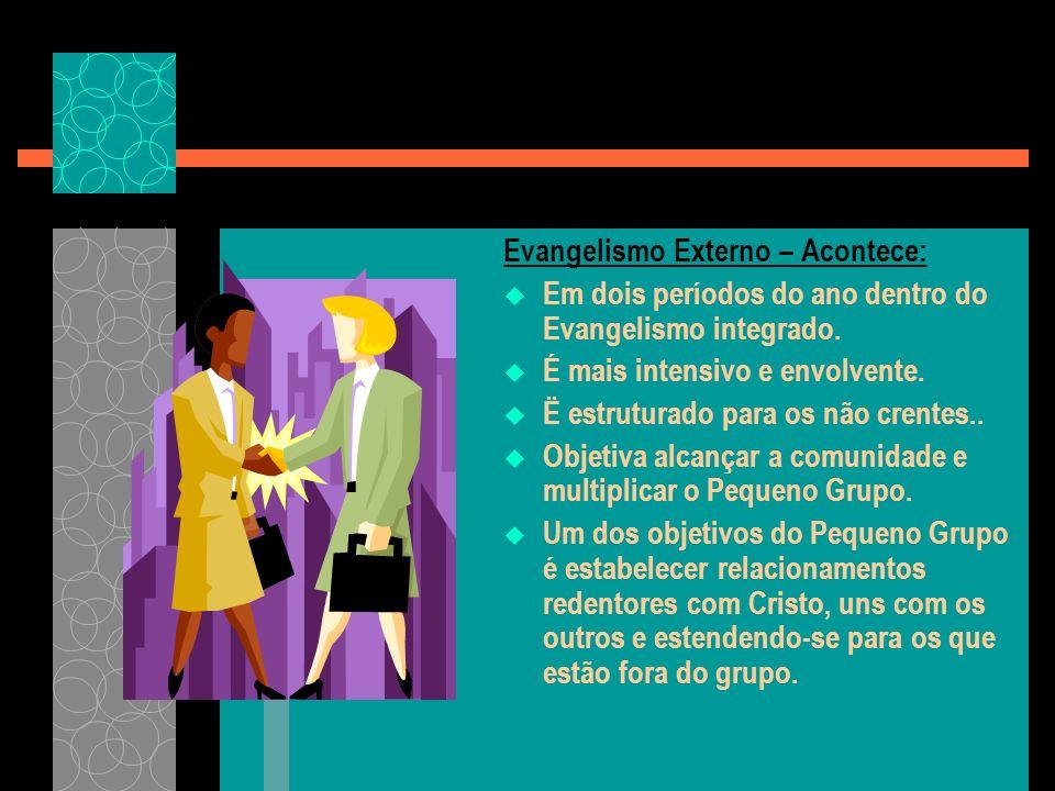 Evangelismo Externo – Acontece: Em dois períodos do ano dentro do Evangelismo integrado.