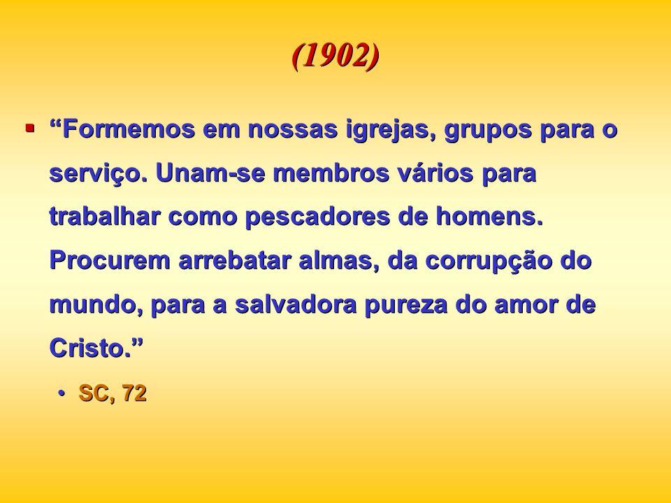 (1902) Formemos em nossas igrejas, grupos para o serviço. Unam-se membros vários para trabalhar como pescadores de homens. Procurem arrebatar almas, d