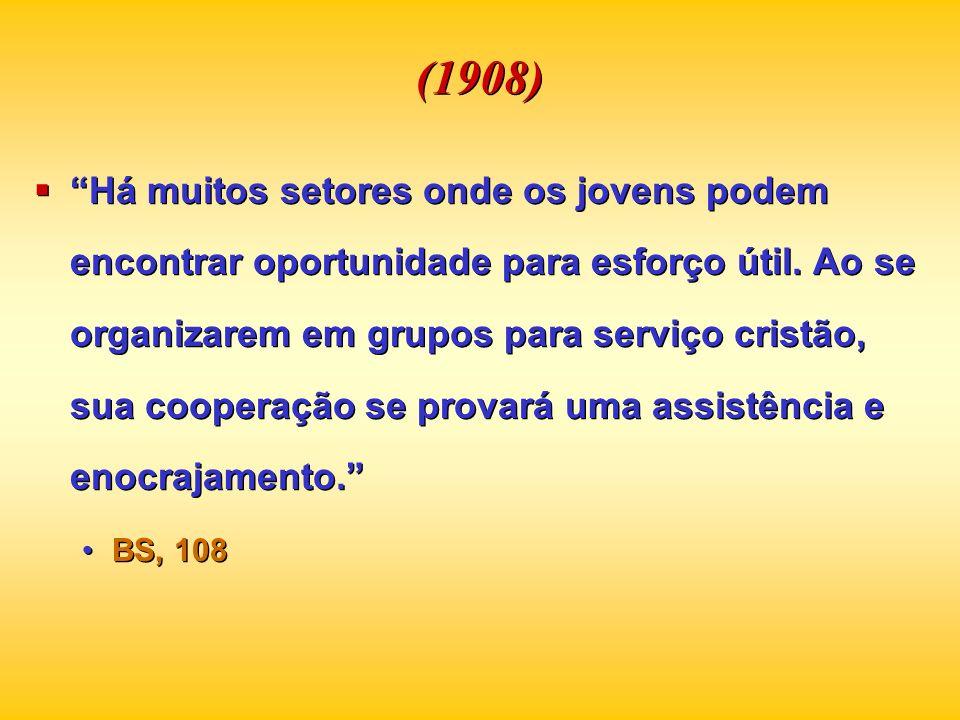 (1908) Há muitos setores onde os jovens podem encontrar oportunidade para esforço útil. Ao se organizarem em grupos para serviço cristão, sua cooperaç