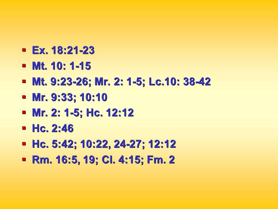 Ex. 18:21-23 Mt. 10: 1-15 Mt. 9:23-26; Mr. 2: 1-5; Lc.10: 38-42 Mr. 9:33; 10:10 Mr. 2: 1-5; Hc. 12:12 Hc. 2:46 Hc. 5:42; 10:22, 24-27; 12:12 Rm. 16:5,
