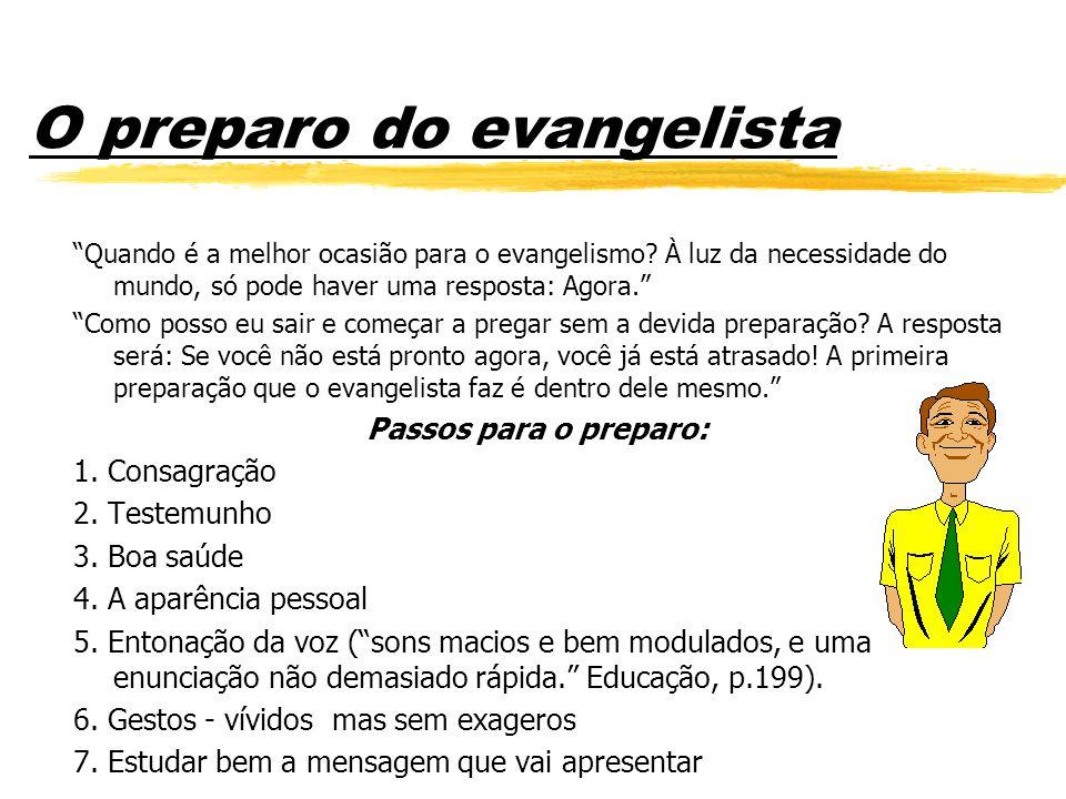 O preparo do evangelista Quando é a melhor ocasião para o evangelismo.