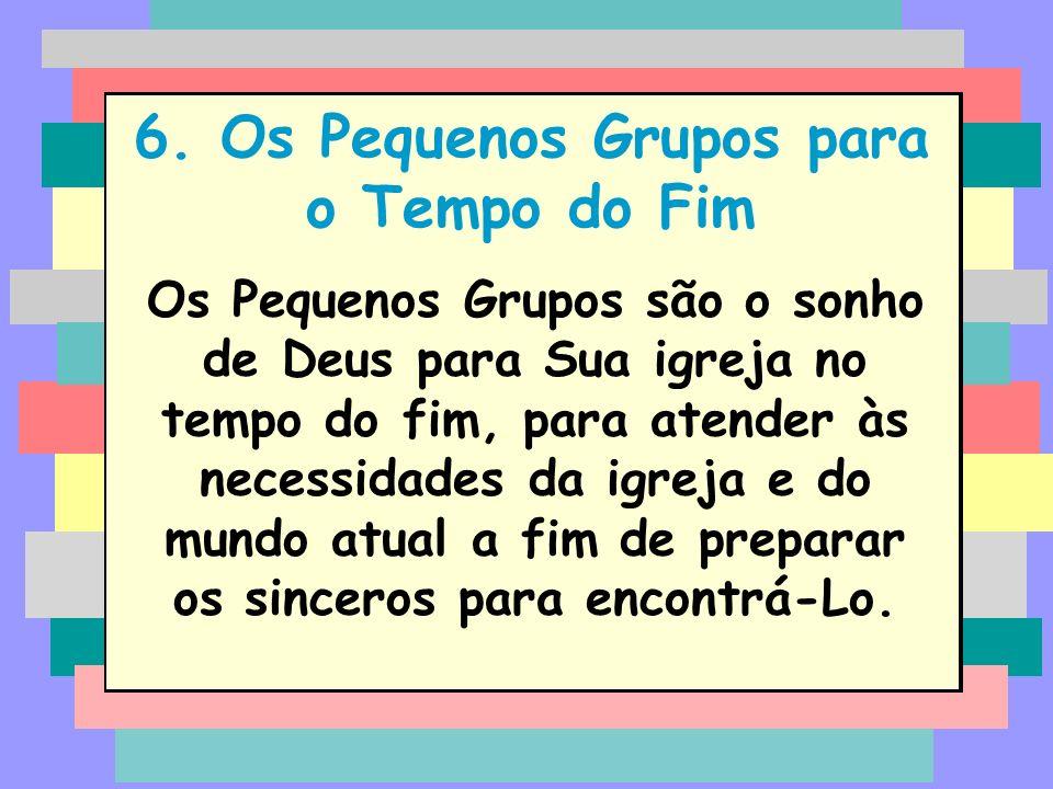 6. Os Pequenos Grupos para o Tempo do Fim Os Pequenos Grupos são o sonho de Deus para Sua igreja no tempo do fim, para atender às necessidades da igre