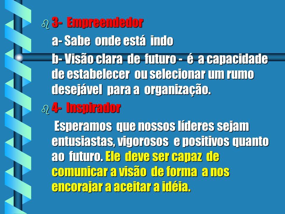 b 3- b 3- Empreendedor a- Sabe onde está indo b- Visão clara de futuro - é a capacidade de estabelecer ou selecionar um rumo desejável para a organização.