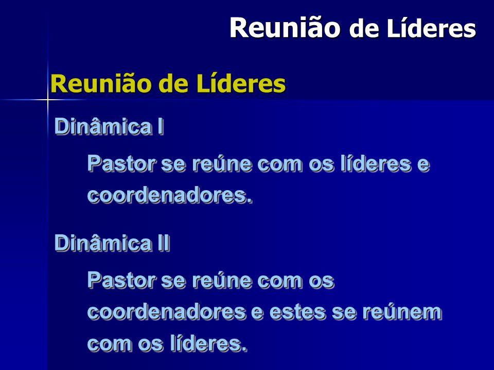 Reunião de Líderes Dinâmica I Pastor se reúne com os líderes e coordenadores.