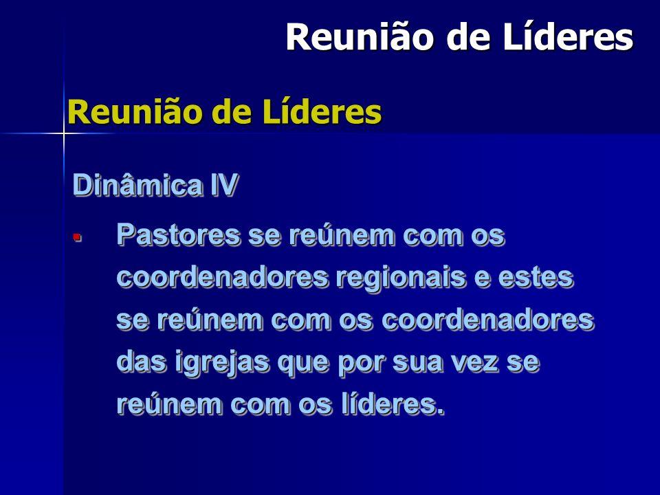 Dinâmica IV Pastores se reúnem com os coordenadores regionais e estes se reúnem com os coordenadores das igrejas que por sua vez se reúnem com os líderes.