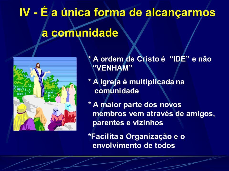 * Aproxima a assistência Pastoral (Líder) * Evita a inatividade, facilitando o desenvolvimento dos Dons * Proporciona que o novo crente forme novo cír