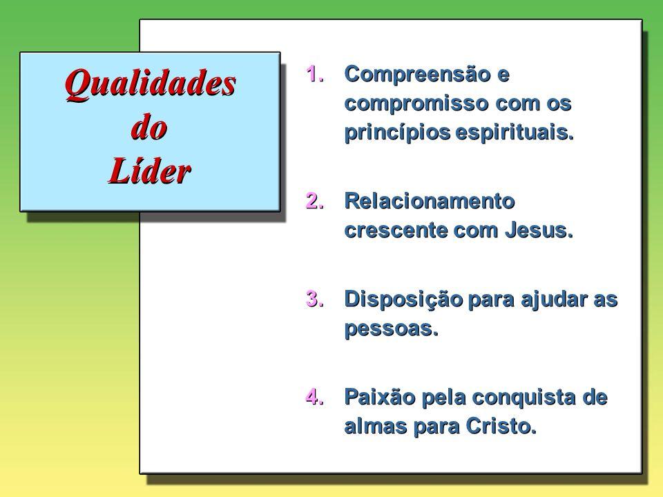 Qualidades do Líder 1.Compreensão e compromisso com os princípios espirituais. 2.Relacionamento crescente com Jesus. 3.Disposição para ajudar as pesso
