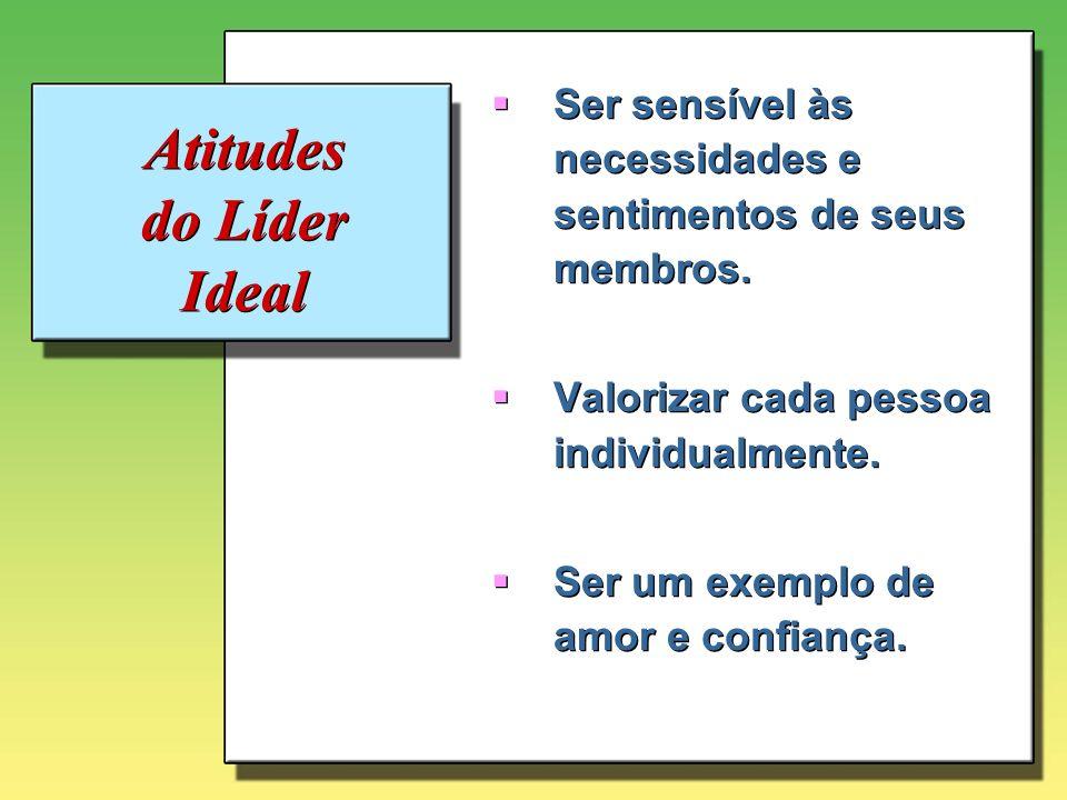 Atitudes do Líder Ideal Ser sensível às necessidades e sentimentos de seus membros. Valorizar cada pessoa individualmente. Ser um exemplo de amor e co
