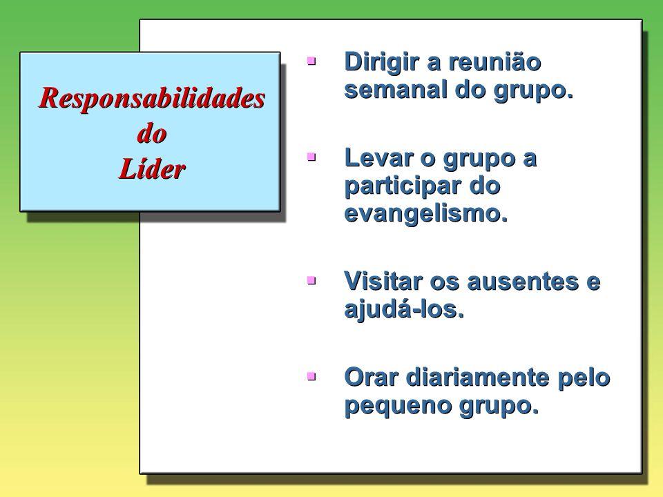 Responsabilidades do Líder Dialogar a cada semana com o associado e com o anfitrião.