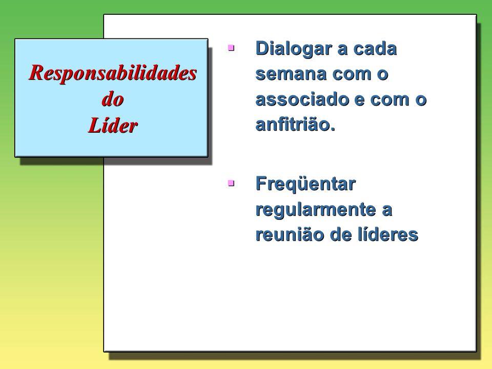 Responsabilidades do Líder Dialogar a cada semana com o associado e com o anfitrião. Freqüentar regularmente a reunião de líderes Dialogar a cada sema