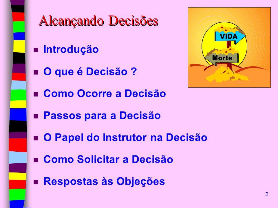 2 n Introdução n O que é Decisão ? n Como Ocorre a Decisão n Passos para a Decisão n O Papel do Instrutor na Decisão n Como Solicitar a Decisão n Resp