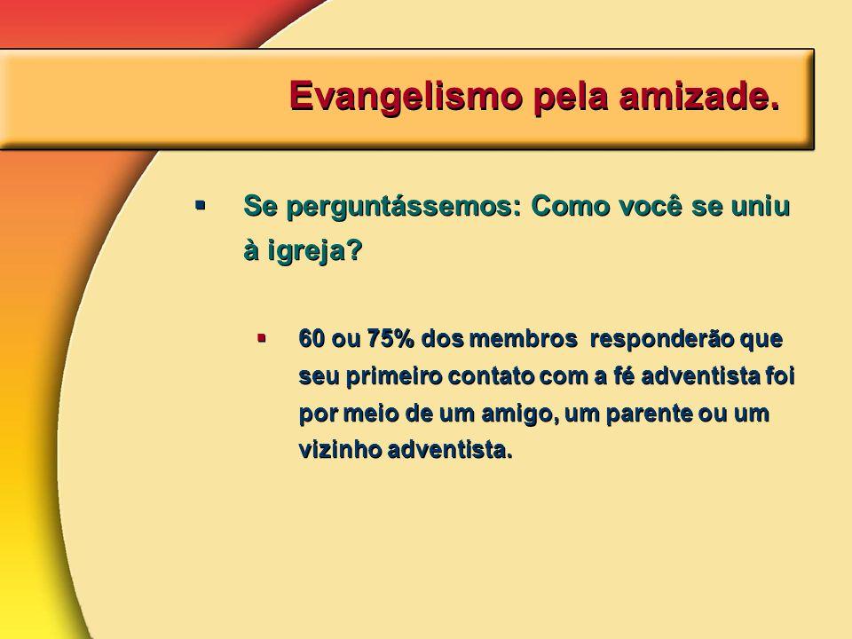 Evangelismo pela amizade. Se perguntássemos: Como você se uniu à igreja? 60 ou 75% dos membros responderão que seu primeiro contato com a fé adventist