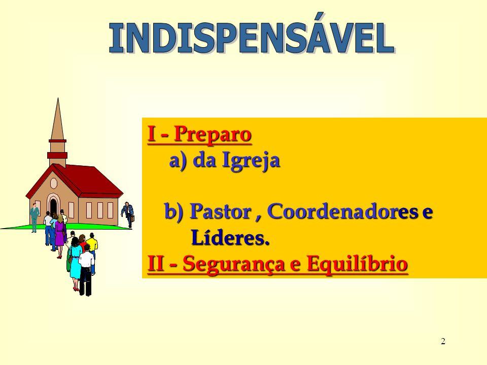 2 I - Preparo a) da Igreja a) da Igreja b) Pastor, Coordenadores e b) Pastor, Coordenadores e Líderes.