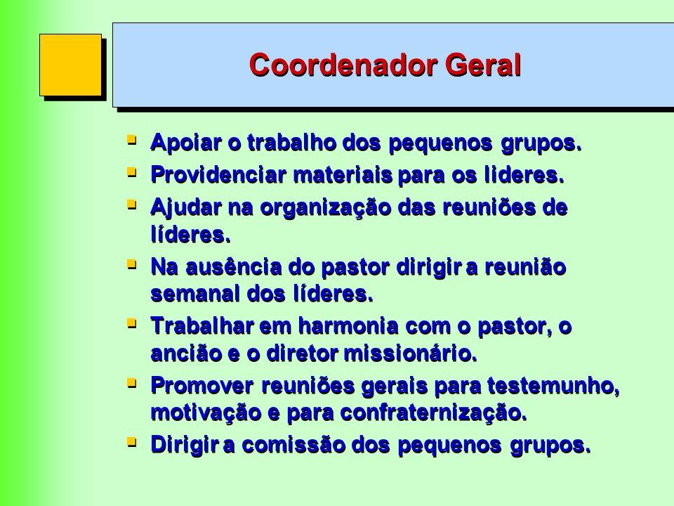 Coordenador Geral Apoiar o trabalho dos pequenos grupos. Providenciar materiais para os lideres. Ajudar na organização das reuniões de líderes. Na aus