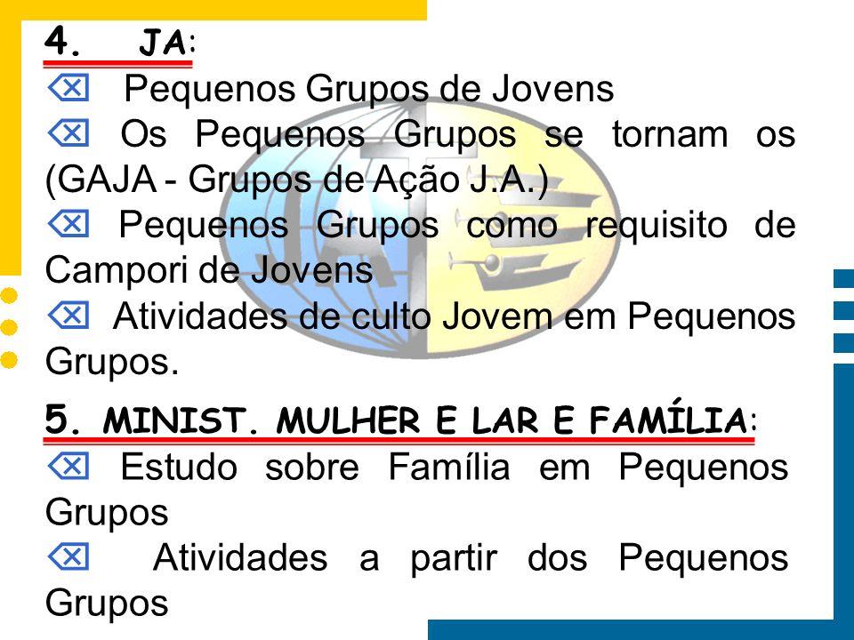4. JA: Pequenos Grupos de Jovens Os Pequenos Grupos se tornam os (GAJA - Grupos de Ação J.A.) Pequenos Grupos como requisito de Campori de Jovens Ativ