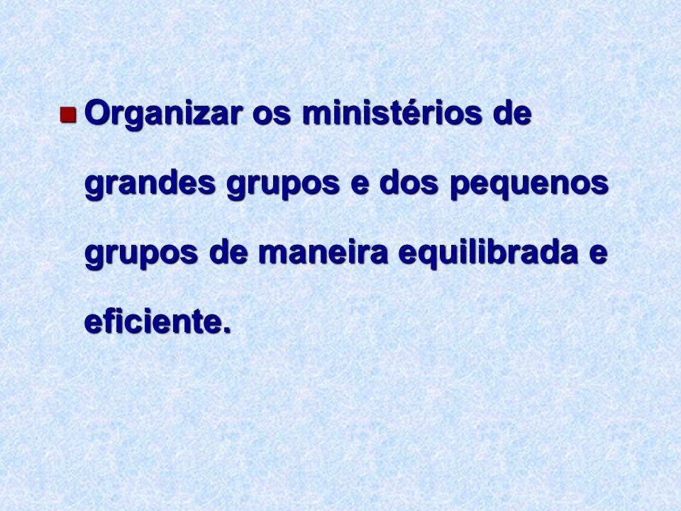 Organizar os ministérios de grandes grupos e dos pequenos grupos de maneira equilibrada e eficiente. Organizar os ministérios de grandes grupos e dos