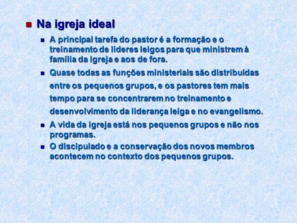 Na igreja ideal Na igreja ideal A principal tarefa do pastor é a formação e o treinamento de líderes leigos para que ministrem à família da igreja e a