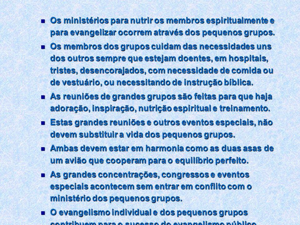Os ministérios para nutrir os membros espiritualmente e para evangelizar ocorrem através dos pequenos grupos. Os ministérios para nutrir os membros es