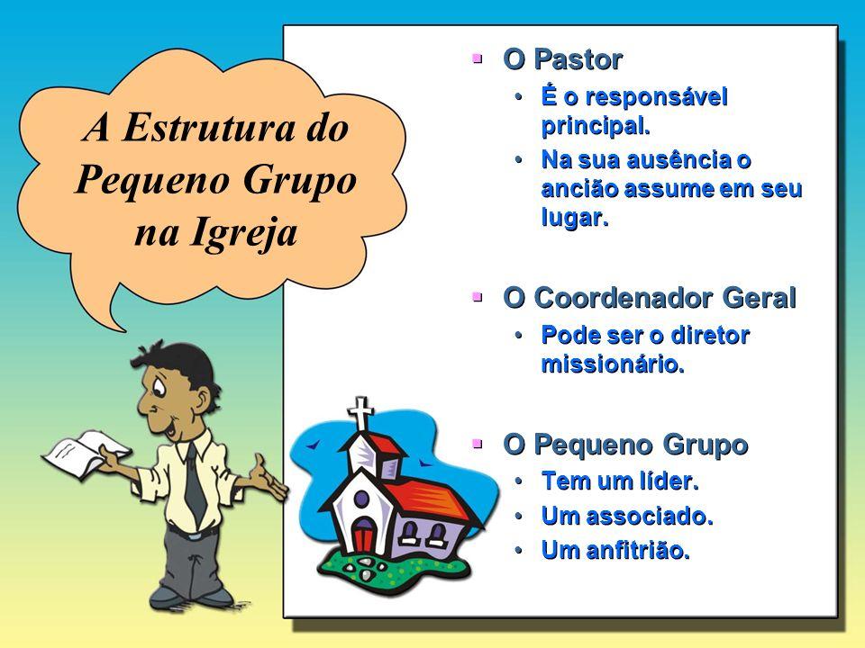A Estrutura do Pequeno Grupo na Igreja O Pastor É o responsável principal. Na sua ausência o ancião assume em seu lugar. O Coordenador Geral Pode ser