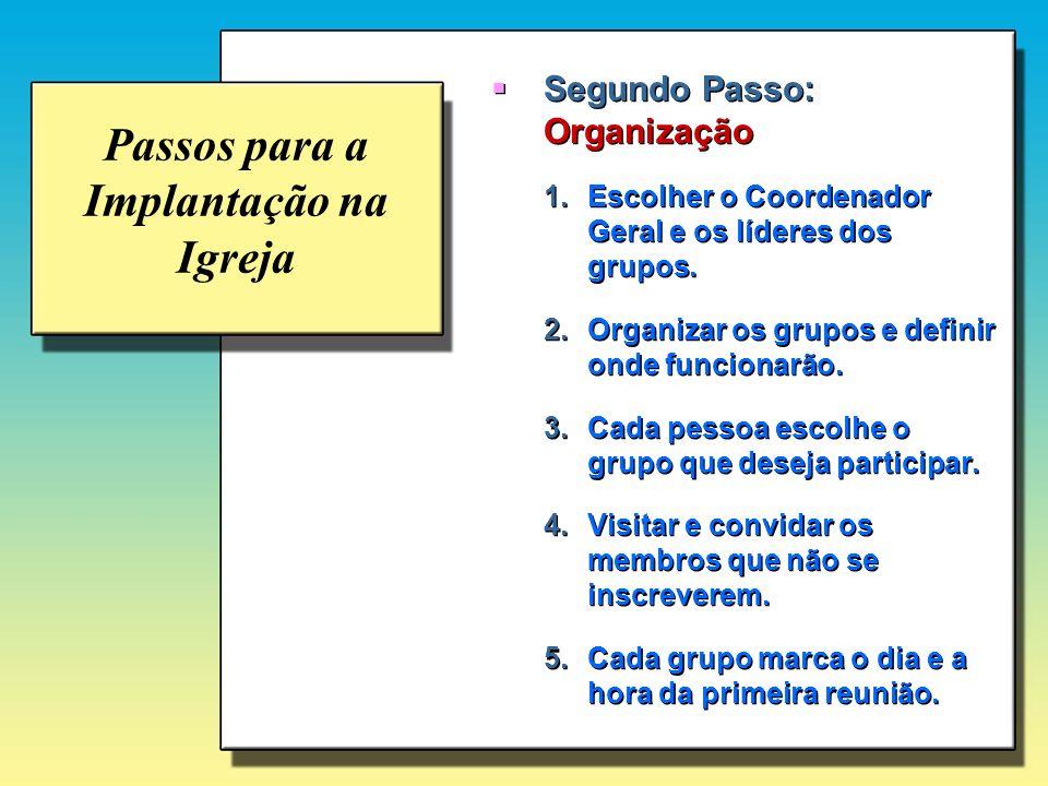 Passos para a Implantação na Igreja Segundo Passo: Organização 1.Escolher o Coordenador Geral e os líderes dos grupos. 2.Organizar os grupos e definir
