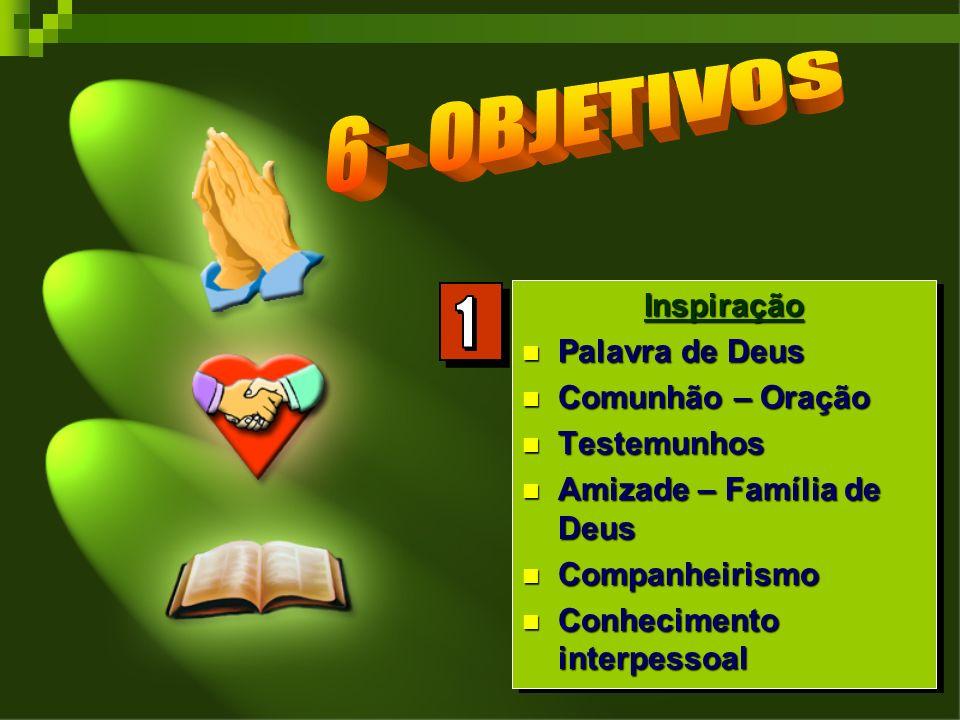 Inspiração Palavra de Deus Palavra de Deus Comunhão – Oração Comunhão – Oração Testemunhos Testemunhos Amizade – Família de Deus Amizade – Família de Deus Companheirismo Companheirismo Conhecimento interpessoal Conhecimento interpessoalInspiração Palavra de Deus Palavra de Deus Comunhão – Oração Comunhão – Oração Testemunhos Testemunhos Amizade – Família de Deus Amizade – Família de Deus Companheirismo Companheirismo Conhecimento interpessoal Conhecimento interpessoal