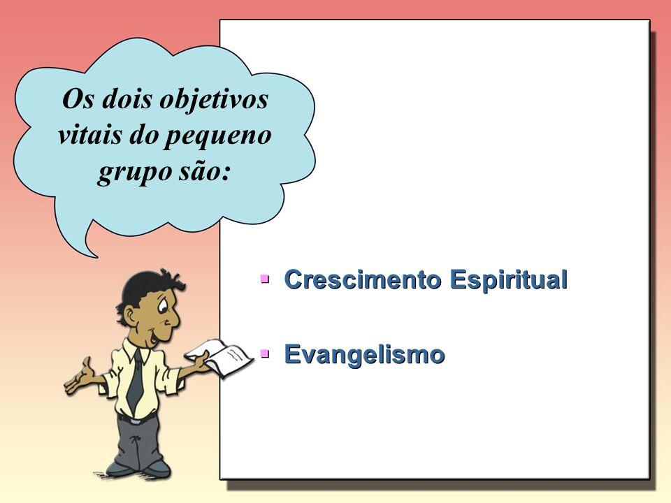 Os dois objetivos vitais do pequeno grupo são: Crescimento Espiritual Evangelismo Crescimento Espiritual Evangelismo