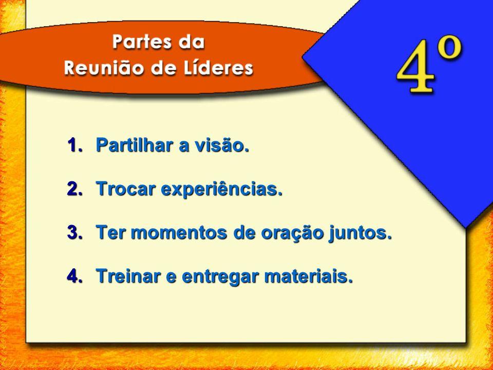 1.Partilhar a visão. 2.Trocar experiências. 3.Ter momentos de oração juntos. 4.Treinar e entregar materiais.