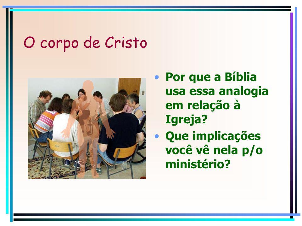 O corpo de Cristo Por que a Bíblia usa essa analogia em relação à Igreja? Que implicações você vê nela p/o ministério?