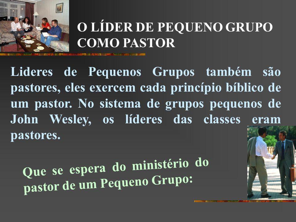 O LÍDER DE PEQUENO GRUPO COMO PASTOR Lideres de Pequenos Grupos também são pastores, eles exercem cada princípio bíblico de um pastor. No sistema de g