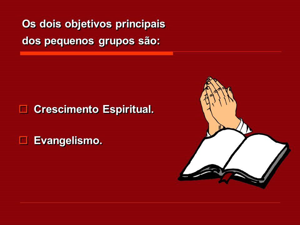 Os dois objetivos principais dos pequenos grupos são: Crescimento Espiritual. Evangelismo. Crescimento Espiritual. Evangelismo.