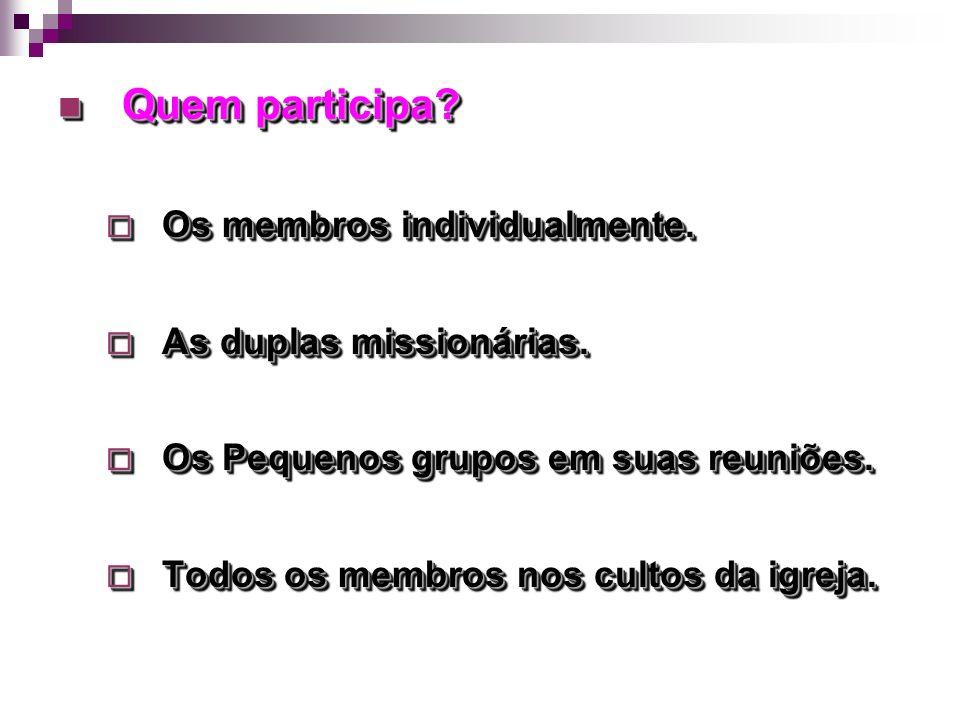 Quem participa? Quem participa? Os membros individualmente. Os membros individualmente. As duplas missionárias. As duplas missionárias. Os Pequenos gr