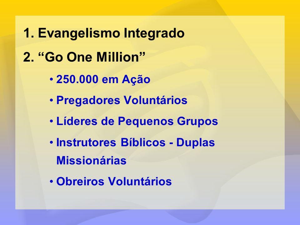 1.Evangelismo Integrado 2.Go One Million 250.000 em Ação Pregadores Voluntários Líderes de Pequenos Grupos Instrutores Bíblicos - Duplas Missionárias