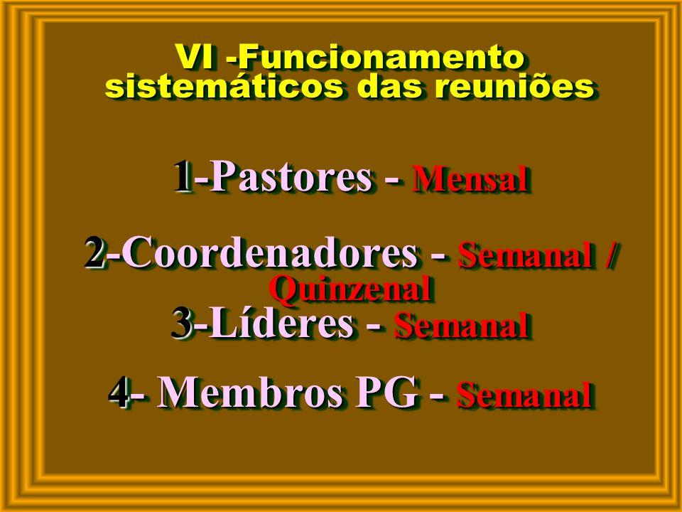 V - Programa do PG Dinâmico, Organizado e Correto 1-Recepção 2-Confraternização 3-Testemunho 4-Oração 5-Estudo da Bíblia