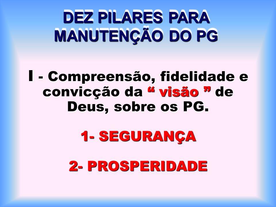 I - Compreensão, fidelidade e convicção da visão de Deus, sobre os PG.