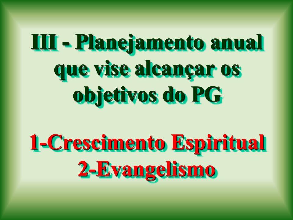 III - Planejamento anual que vise alcançar os objetivos do PG 1-Crescimento Espiritual 2-Evangelismo