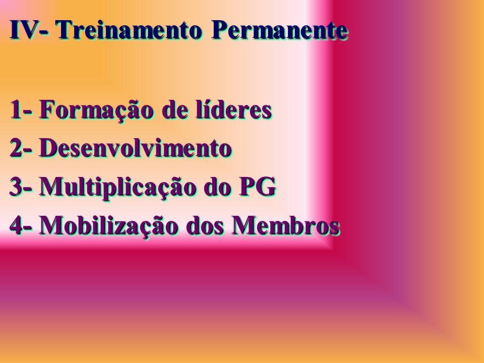 IV- Treinamento Permanente 1- Formação de líderes 2- Desenvolvimento 3- Multiplicação do PG 4- Mobilização dos Membros