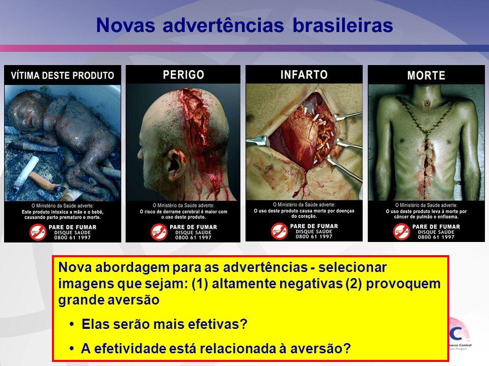 Novas advertências brasileiras Nova abordagem para as advertências - selecionar imagens que sejam: (1) altamente negativas (2) provoquem grande aversã