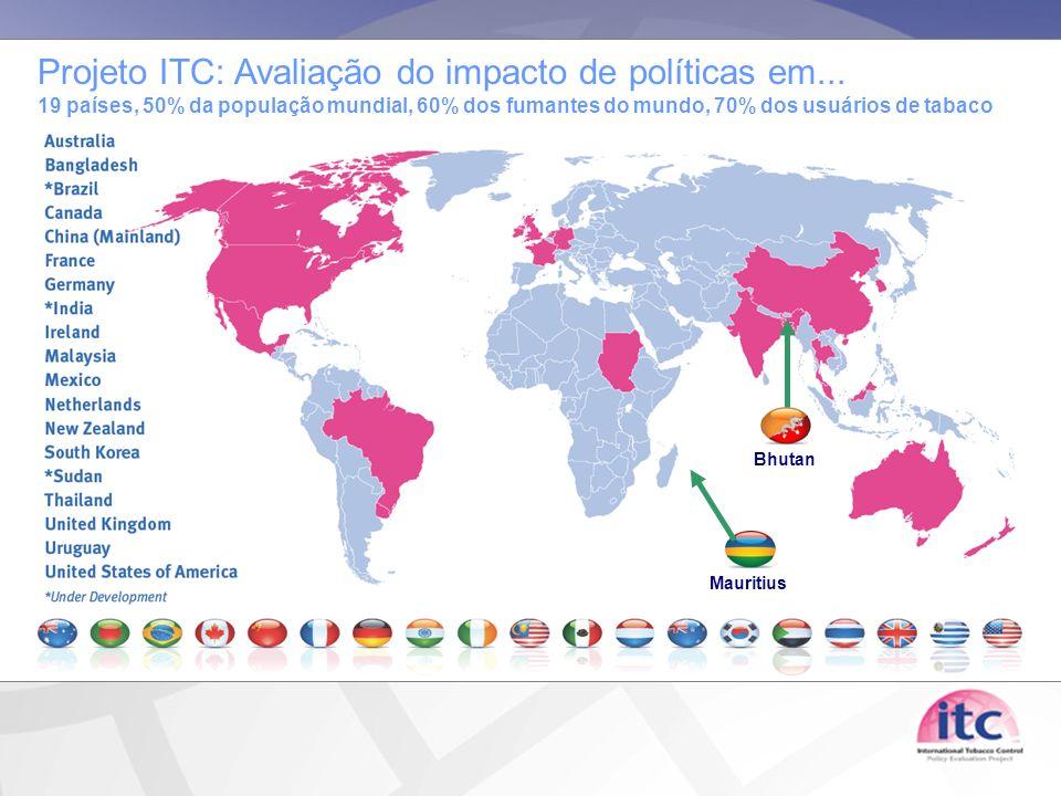 Mauritius Bhutan Projeto ITC: Avaliação do impacto de políticas em... 19 países, 50% da população mundial, 60% dos fumantes do mundo, 70% dos usuários