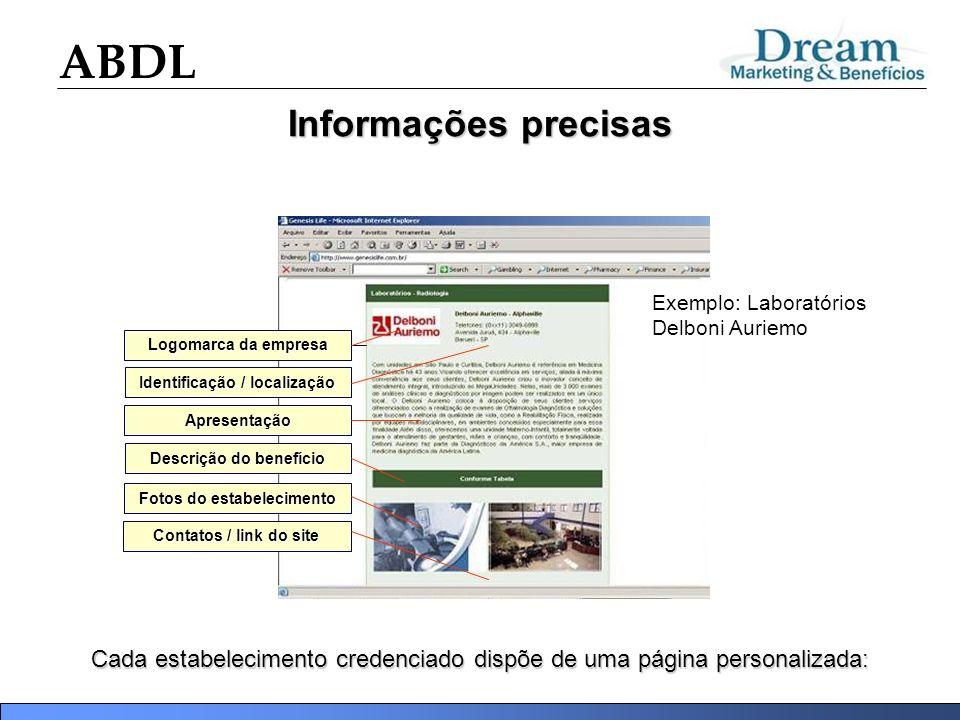 ABDL Informações precisas Cada estabelecimento credenciado dispõe de uma página personalizada: Descrição do benefício Apresentação Fotos do estabeleci