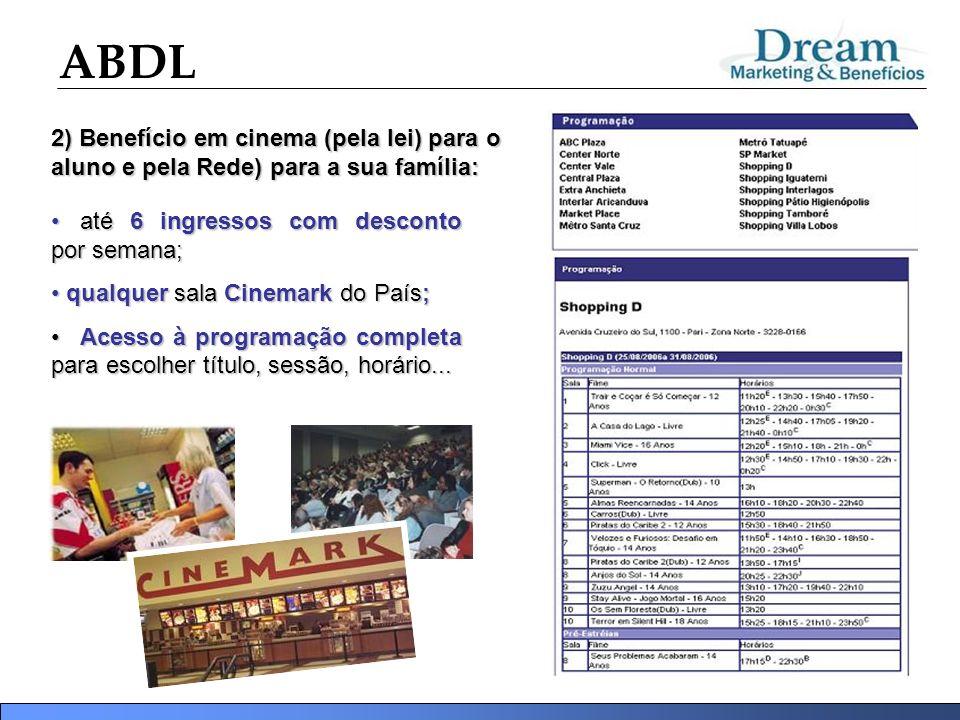 ABDL 2) Benefício em cinema (pela lei)para o aluno e pela Rede) para a sua família: 2) Benefício em cinema (pela lei) para o aluno e pela Rede) para a