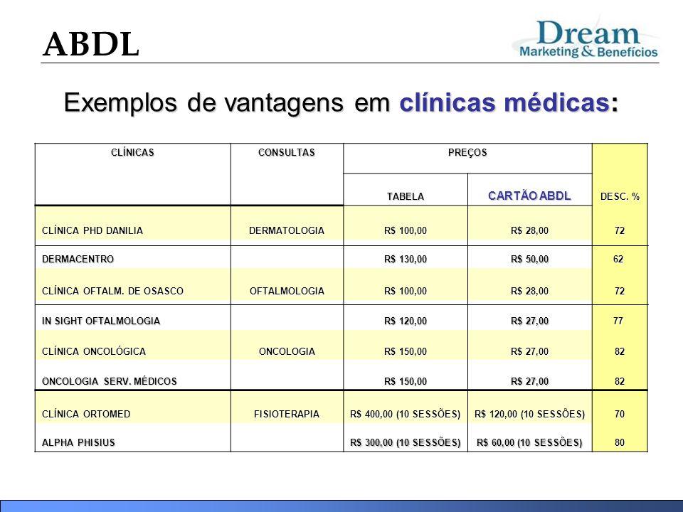 ABDL Exemplos de vantagens em clínicas médicas: CLÍNICASCONSULTASPREÇOS DESC. % TABELA CARTÃO ABDL CLÍNICA PHD DANILIA DERMATOLOGIA R$ 100,00 R$ 28,00