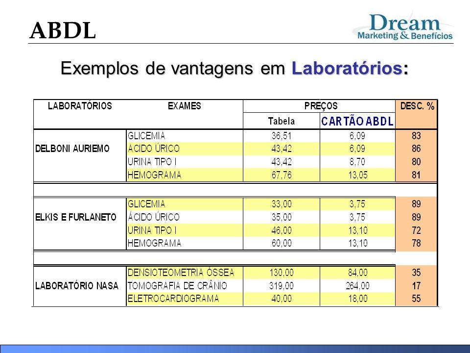 ABDL Exemplos de vantagens em Laboratórios: