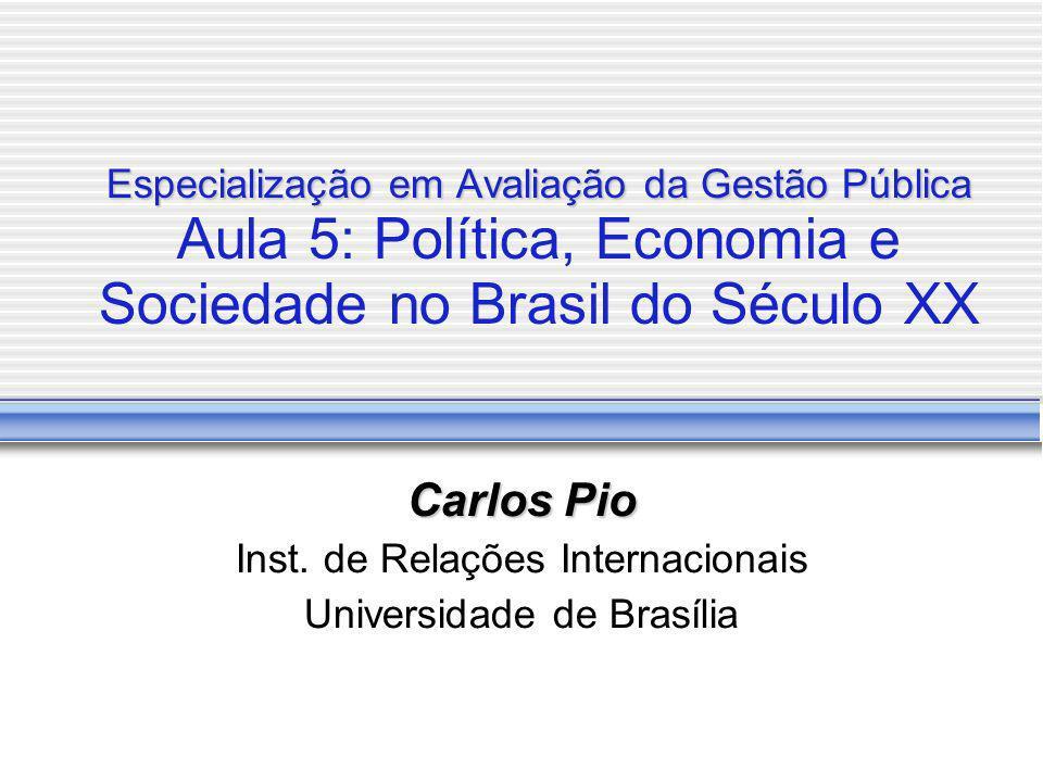 Expansão da cidadania no Brasil Modernização Política (cont.) Regime Autoritário (1964-84) Eliminação direitos civis e políticos, porém com manutenção de direitos sociais Aprofundamento do modelo ISI Aprofundamento do corporativismo estatal Transição e consolidação democrática (desde 1985) Restauração e ampliação de direitos civis e políticos Criação e ampliação de direitos sociais (Constituição de 88, políticas sociais focalizadas) Crise do modelo corporativista Crise econômica