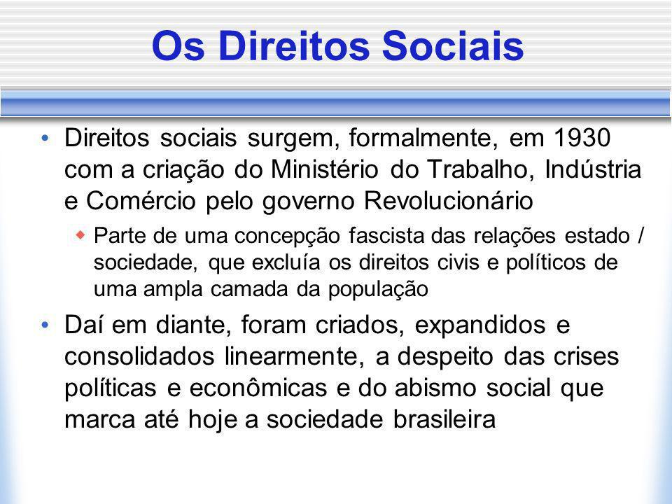Os Direitos Sociais Direitos sociais surgem, formalmente, em 1930 com a criação do Ministério do Trabalho, Indústria e Comércio pelo governo Revolucio